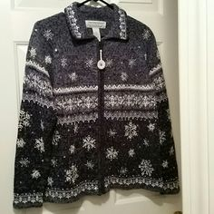 Beautiful sweater blue Trying to capture the snowflakes. Much better looking in person Sweaters