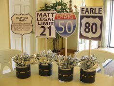 Centerpieces for milestone birthday by Party Perfect Orlando, via Flickr