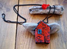 House Paper Necklace Paper Mache Necklace Paper Art by irineART