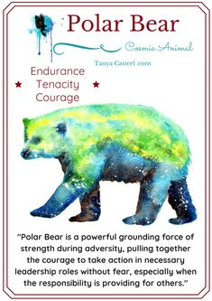 Polar Bear symbolism, meaning, dreams, and galactic watercolor painting by Tanya Casteel. Bear Spirit Animal, Animal Spirit Guides, Bear Animal, Animal Meanings, Animal Symbolism, Spiritual Animal, Animal Medicine, Power Animal, Animal Totems