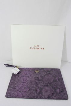 Authentic Coach Signature Stripe Embossed Snake Large Purple Tech Pouch NWT