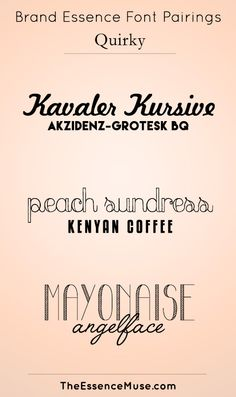 Brand Essence Font Pairings - QUIRKY Kenyan Coffee, Font Pairings, All Fonts, Word Art, Typography, Sweets, Pairs, Graphic Design, Make It Yourself