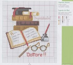 Diploma dottore Cross Stitch Music, Cross Stitch Books, Cross Stitch Bookmarks, Cross Stitch Love, Cross Stitch Designs, Cross Stitch Patterns, Letter A Crafts, Le Point, Cross Stitching