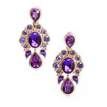 Luxurious Purple Color Wedding 18KG Plated Korean Exquisite Water Drop Gem Crystal Dangles Earrings For Women V2917(China (Mainland))