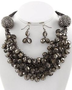 Cluster Necklace Set Hematite Tone Black Acrylic Pave Ball & Beads Necklace Set #FashionJewelry
