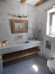 Traditional Cycladic-style bathroom with concrete sink , Beton Cire coating and wood details. The Effective Pictures We Offer You About bathroom sinks trough A quality picture can tell you many things Concrete Sink Bathroom, Floating Bathroom Sink, Concrete Bedroom, Bathroom Sink Units, Concrete Kitchen, Bathroom Toilets, Small Bathroom, Bathroom Styling, Bathroom Interior Design