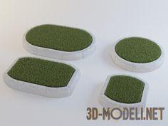 Клумбы с зеленой травой