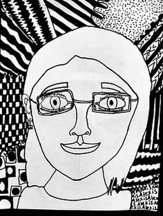 """Contour Line self-portraits. sharpies. lots of fantastic examples on ms. r's site """"davinciswings."""""""