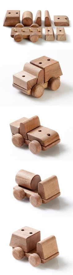 Fun and creativity inspiring wooden trucks | we love smart toy design at groovygap.com | #woodentrucktoy #woodentoys #toypuzzle