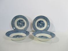 Berry Bowls Currier Ives Blue Royal China Children At the Garden Gate Lot of 8 #RoyalChina