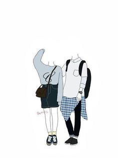 Cute Couple Drawings, Cute Couple Art, Cute Couples, Chibi Body, Face Collage, Doodle People, Bullet Journal Font, Cartoon Art Styles, Ulzzang Couple