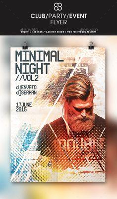 Minimal Night Flyer Design PSD Template #design Download: http://graphicriver.net/item/minimal-night-flyer-design/12726235?ref=ksioks