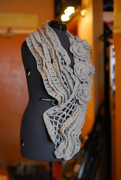 """Crocheted Scarf - inspiration to try a """"sampler"""" scarf, using several different stitches"""
