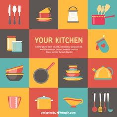 Colorful kitchen elements Free Vector