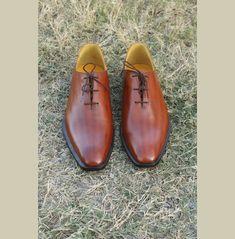 Handmade men fashion brown leather shoes, Men brown formal dress shoes - Dress/Formal