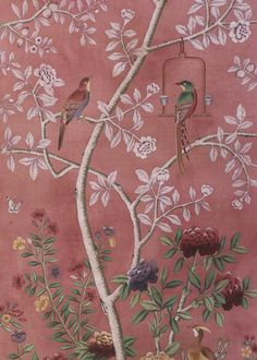 Chinoiserie hand-painted wallpaper.