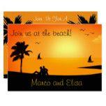 """Join Us at the Beach"" Sunset Beach Wedding Card"