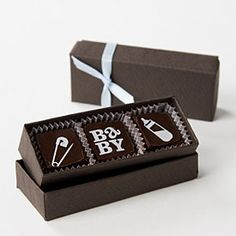 Baby Themed Gourmet Printed Truffles in Chic Favor Box