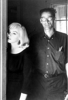 Monroe with third husband Arthur Miller  on the set of The Misfits in 1960. It was her last film