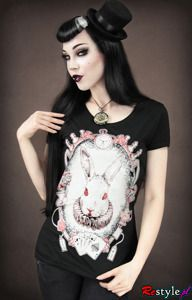 Alice from wonderland RABBIT women t-shirt black
