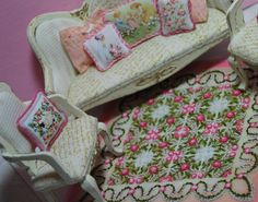 bedspread quilt miniature embroidery dollhouse by DollhouseLittles, $295.00