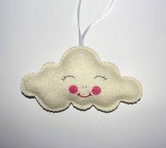 Wool Felt Cloud Ornament, White Cloud, Wall Decor, Nursery Decor, Baby Decoration, Kids Room Ornament, Hanging, Tree Ornament, Handmade by NitaFeltThings on Etsy