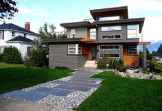 Modern house reno front wide angle w walkway P1000851 by formula80_ca, via Flickr