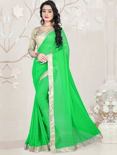 Green Georgette Saree with Stone Work