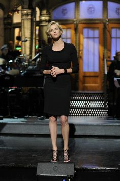 Charlize Theron on SNL. Makeup by Pati Dubroff. Styled by Leslie Fremar.