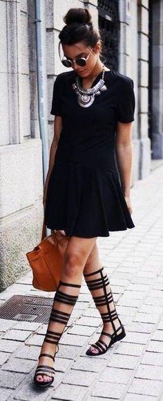 black dress + over the knee sandal