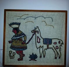 Framed-Peruvian-Woven-Folk-Art-Figure-Leading-a-Llama-Embroidery-on-Wool-Textile