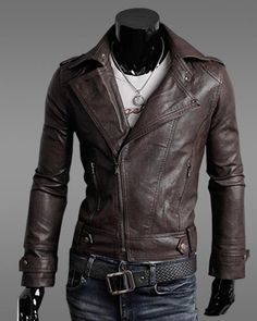 Mens Black Leather Jacket Mens Cool Pockets Zipper Closure Stand ...