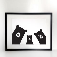The Bear Family Print is part of the the Goldilocks and the 3 bears collection by Heather Alstead. This lovely bear family portrait is a great idea for representing your own family - mummy bear, daddy bear and baby bear. We also have a family of four bears. This print is stylish and delightful for kids and adults alike.  The Heather Alstead Bear Family Print will look great in the kid's room and the living room. It also makes a cool family gift idea.  The Bear Family Portrait is printed…