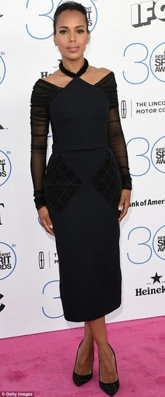 No Scandal here: Kerry Washington showcased her figure in a black dress featuring sheer sl...