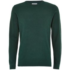 TOPMAN Selected Homme Green Jumper (2.760 RUB) ❤ liked on Polyvore featuring men's fashion, men's clothing, men's sweaters, green, mens cotton crew neck sweaters, mens cotton sweaters, mens crewneck sweaters, mens green sweater and mens long sleeve polo sweater