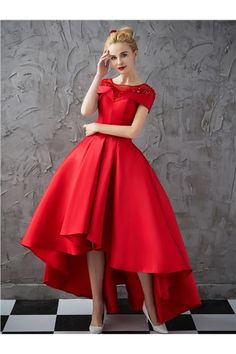 dresswe.com Offers High Quality Vintage A Line High Low Asymmetry Applique Beaded Cap Sleeve Evening Dress,Priced At Only US$142.99
