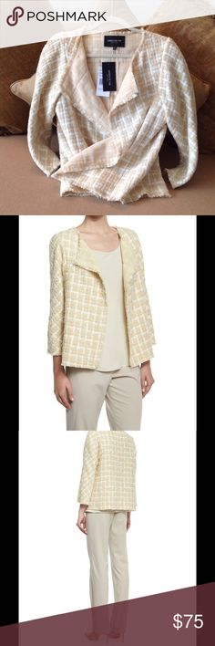 🍃🌺 'Lafayette 148' - New York Blazer 🍃 Brand New Blazer in the most 'Luscious' multi color made. Size Medium. Creamy White and Yellow Gold tweed with subtle fringe.  The lining is pure Gold 🌟. Three quarters length sleeves.  Made of Wool and Mohair blend. This is simply one of the most stylish, prettiest  and well made 'open' style blazers ever. Lafayette 148 New York Jackets & Coats Blazers