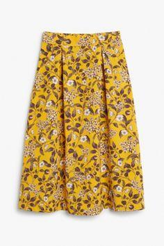 Monki A-line midi skirt in Yellow Reddish