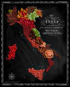 Italy. Maps made from country's iconic foods. Henry Hargreaves and Caitlin Levin.