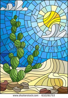 The illustration in stained glass style painting with desert landscape, cactus in a background of dunes, sky and sun Stained Glass Patterns Free, Stained Glass Designs, Mosaic Patterns, Stained Glass Art, Mosaic Art, Mosaic Glass, Glass Cactus, Glass Vase, Landscape Art