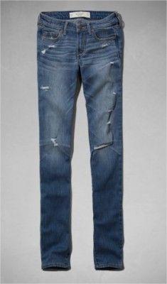 Jeans Abercrombie Women's A&F Skinny Jeans Destroyed Dark Wash #Jeans #Abercrombie