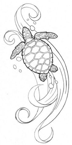 2017 trend Watercolor tattoo - Baby sea turtle tattoo would look beautiful with vibrant colors. Colouring Pages, Coloring Books, Mandala Coloring, Turtle Coloring Pages, Turtle Tattoo Designs, Sea Turtle Tattoos, Ocean Tattoos, Sea Turtle Drawings, Tatoos