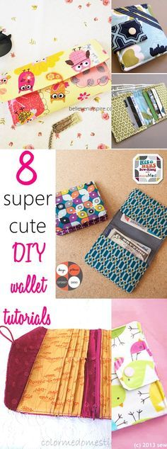 8 super cute DIY wallet tutorials. Such a GREAT list of wallet tutorials to make for yourself and the kids. LOVE THESE IDEAS. Check out now!