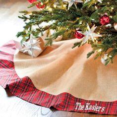 Suzanne Kasler Burlap & Red Plaid Tree Skirt by Ballard Designs Diy Christmas Tree Skirt, Tartan Christmas, Burlap Christmas Tree, Xmas Tree, Christmas Time, Christmas Crafts, Christmas Decorations, Christmas Ideas, Holiday Tree