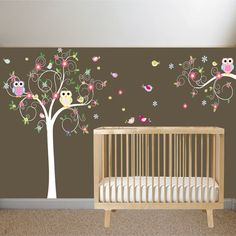 New design vinyl wall decal stickers swirl tree owl set nursery girls baby. $150.00, via Etsy.