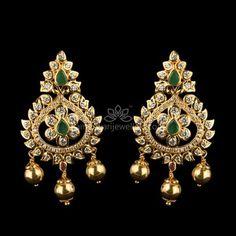 traditional Earrings at Kameswari Jewellers in India. Gold Jhumka Earrings, Gold Bridal Earrings, Jewelry Design Earrings, Buy Earrings, Gold Earrings Designs, Gold Jewellery Design, Designer Earrings, Pendant Jewelry, Earrings Online