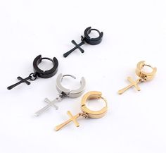 AU STOCK 1 Pair Titanium Surgical Steel Fashion Kpop Punk Gothic Cross Earrings
