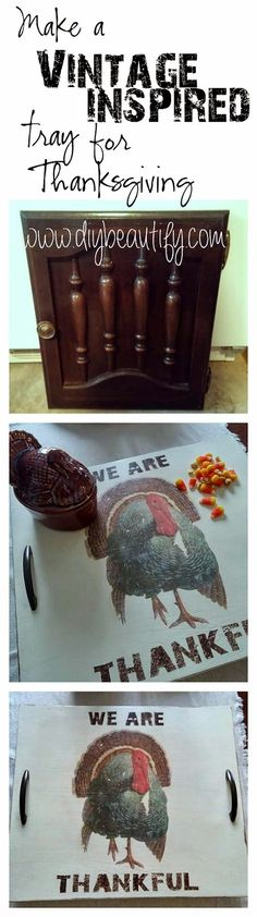 How to make a Vintage Inspired Thanksgiving Tray from a Cupboard Door on www.diybeautify.com