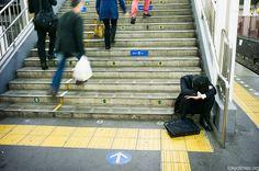 Drunk, slumbering Japanese salaryman