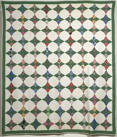 "from 1930..Green and White ""Texas Tears"" Pieced Quilt."